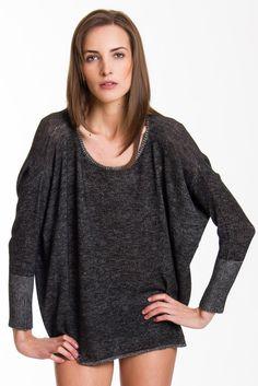 Everyday Two Tone Sweatshirt, Black/Ivory, 100% Fine Worsted Cashmere | Paychi Guh