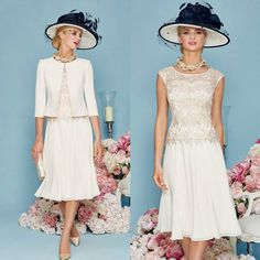 Lace Chiffon Short A-line Mother Of The Bride Dresses Suits With Jackets Knee Length Sleeveless Evening Gowns For Mother of Bride Mother Of The Bride Suits, Mother Of Bride Outfits, Mother Of Groom Dresses, Bride Groom Dress, Mothers Dresses, Mob Dresses, Party Dresses For Women, Formal Dresses, Bride Dresses