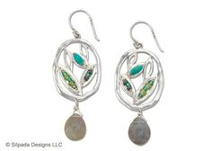 Make your wardrobe come alive with the stabilized Turquoise and Labradorite petals in these Sterling Silver Earrings.