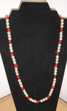 Coral and Cream/Genuine red sponge coral and cream pearls necklace by CreationsbyMaryEllen on Etsy