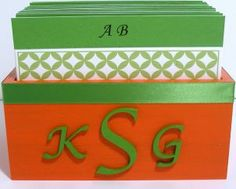 Wedding Guest Book Box - Orange, Green & White w/Couple Monogram (custom colors available)