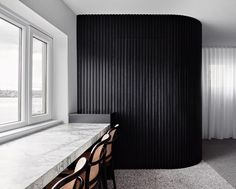I love the Japan black stained batten clad wood wall concealing the bathroom. Timber Battens, Timber Walls, Curved Walls, Timber Cladding, Timber Wood, Interior Barn Doors, Interior Walls, Exterior Doors, Modern Interior Design