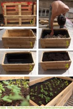 °° Do yourself your flower boxes °°: °° lejardindeclaire °° I like the recycled pallet, pond liner and river rock! Garden Boxes, Garden Planters, Pallet Garden Box, Pallet Planters, Pallet Gardening, Diy Pallet Projects, Garden Projects, Potager Palettes, Container Flowers