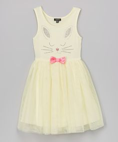 Look at this #zulilyfind! Zunie Yellow Bunny Bow Dress - Toddler & Girls by Zunie #zulilyfinds