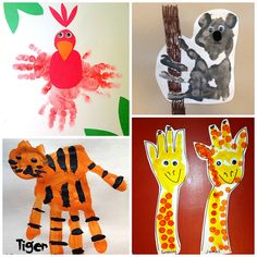 Here is a list of fun zoo animal handprint crafts for kids to make! Find a tiger, parrot, giraffe, monkey, koala, snake, lion, and many more art projects!