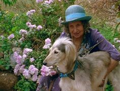 Juliette de Bairacli Levy with one of her beloved Afghan Hounds - herbalist wise woman and gypsy-heart, pioneer in holistic veterinary medicine