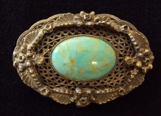 SOLD  Vintage Sterling Silver and Faux Turquoise Brooch $55.00