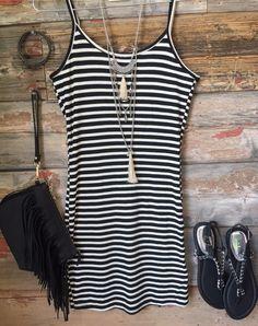 Strike Out Tank Dress: Black
