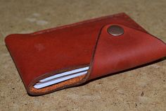 Leather Wallet-Men Wallet-Leather Card Holder Leather-Handmade  Red ginger color