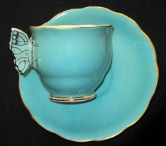 $595 Royal Albert Butterfly Handle Crown China Tea Cup and Saucer