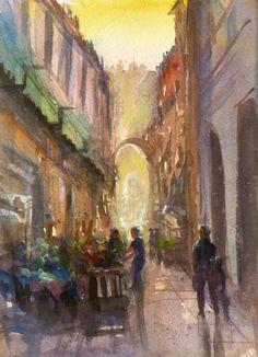 Napoles street market at sunset. Watercolor, Painting, Art, Gouache Art, Gouache