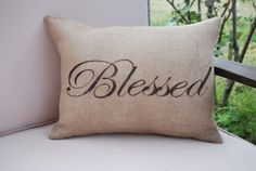 Blessed - Hand Painted Burlap Pillow - Insert Included - Decorative Pillow - Toss Pillow - Throw Pillow
