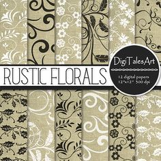 """Floral swirls linen digital paper """"Rustic Florals"""" with black and white patterns.  Perfect for scrapbooking, wedding, making cards, invitations, collages, crafts, web graphics, and so much more. Digital paper pack by DigiTalesArt."""
