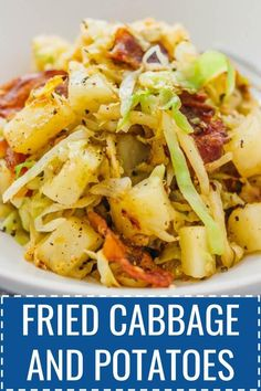 This is a really easy fried cabbage and potatoes recipe with crispy bacon. - This is a really easy fried cabbage and potatoes recipe with crispy bacon. Only six ingredients and - Fried Cabbage And Potatoes, Cabbage And Noodles, Cabbage And Sausage, Fried Cabbage Recipes, Cabbage Soup, Fried Potatoes, Sauteed Cabbage, Cabbage Rolls Recipe, Cabbage Casserole