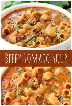 Beefy Tomato Soup A creamy, comforting tomato soup recipe loaded with beef and pasta. Beefy Tomato Soup Recipe, Tomato Soup Recipes, Easy Soup Recipes, Healthy Recipes, Pasta Recipes, Dinner Recipes, Tomato Soups, Tomato Tomato, Food Dinners