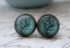 ENTIRE SHOP 20 OFF Sale Aqua Tree Post Earrings by WearitoutJewelz, $14.40