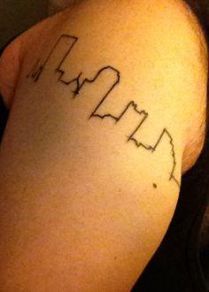 Pittsburgh skyline tattoo - city outline
