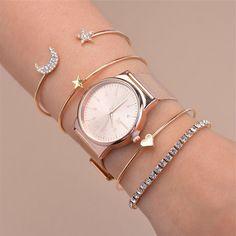 Product Information Product Type: 4 Bracelet Set Size: Adjustable jewelry watches for women Simple Watches, Trendy Watches, Women's Watches, Cute Watches, Cheap Watches, Watches Online, Stylish Watches For Girls, Bracelet Set, Bangle Bracelets