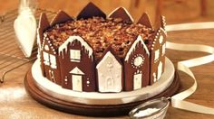 Winter Wonderland Cake Recipe ~ the gingerbread houses would also be amazing around a cheesecake, or even used on a plate as an edible bowl to fill with Christmas snacks or appetizers.