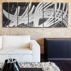 """""""Elegant Chaos"""" 68""""x 24"""" Silver Aluminum Large Metal Wall Art Panels with Contemporary Abstract Design by Artist Brian Jones - DV8 Studio"""