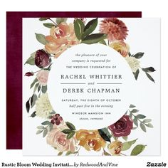 Fall in love with the perfect invitation for your rustic wedding with Zazzle! Square Wedding Invitations, Winter Wedding Invitations, Zazzle Invitations, Invitation Cards, Invites, Shades Of Burgundy, Watercolor Rose, Burgundy Wedding, Wedding Details