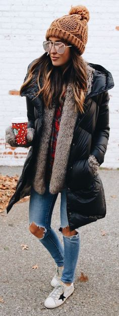 #winter #fashion /  Black Puff Coat + Brown Beanie + White Sneakers