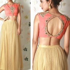 Crop top and lehenga ! Golden lehenga paired up with peach coloured blouse. Indian Skirt, Indian Dresses, Indian Outfits, Sari Blouse Designs, Lehenga Designs, Blouse Patterns, Golden Lehenga, Simple Lehenga, Dress Outfits
