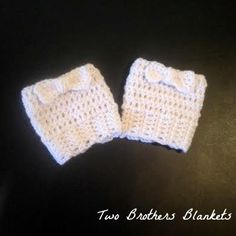 Boot cuffs with bow embellishment custom made in toddler,  child,  and adult sizes by #twobrothersblankets!  #crochet #mmmakers