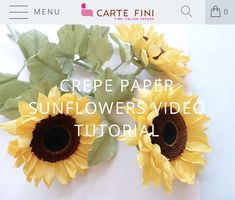 DIY your own Sunflowers. This fantastic tutorial shows you how to. Find colors in our online store. Crepe Paper Flowers Tutorial, Paper Flowers Craft, Flower Crafts, Fake Flowers, Artificial Flowers, Diy Paper, Paper Crafts, Paper Sunflowers, Forever Flowers