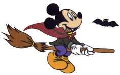 Disney Mickey Mouse Cartoon Clipart: cute picture of the Disney cartoon character wearing a vampire costume and riding on a broom with bats,. Mickey Mouse Halloween, Mickey Mouse Cartoon, Halloween Cartoons, Halloween Clipart, Disney Halloween, Disney Mickey, Halloween Skirt, Happy Halloween, Walt Disney