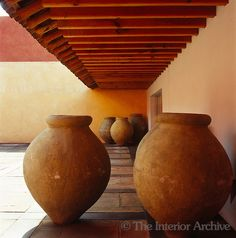 The Large Terracotta Pots To One Side Of The Main Courtyard Are From The  Yucatan Peninsula