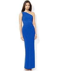 Lauren Ralph Lauren Dress, One-Shoulder Jersey Gown - Dresses - Women - Macy's