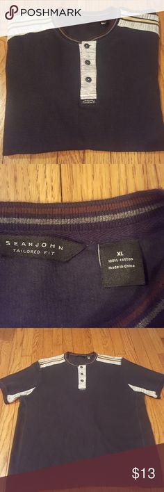 Sean John Blue Gray Shirt 100% cotton Sean John Shirts