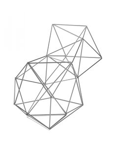 """Structure. Form and space is easy to descibe, but showing it, presents a much bigger challenge. Our """"Structure"""" can have many applications, e.g. can be used as a toy, during geometry lesson, or for creating spatial decorations in various interiors. Wire hooks, connected by means of rubber bands, are """"flexible nodes"""" of sort, which allow for effortless shaping and transforming geometric figures and configurations."""