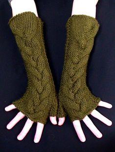 Fingerless Gloves Long Knit Moss Green Handknit by LaimaShop, $38.00