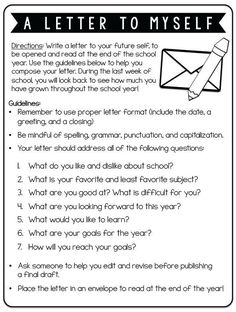 End of School May. Twist this and have your teachers write this for themselves. Edit the questions to reflect your goals for your school year! Fun first day activity: Have kids write a letter to themselves at the end of the year. Kids Writing, Teaching Writing, Writing Activities, Music Writing, Music Essay, Goal Setting Activities, Vocabulary Activities, Therapy Activities, Beginning Of The School Year