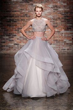 Would You Wear A Crop Top On Your Wedding Day? #refinery29  http://www.refinery29.com/crop-top-wedding-dresses#slide5  Go bold with a hint of color and a whole lot of skin.
