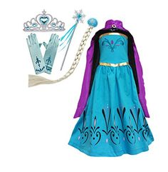 Complete Princess Costume Packet includes 1 dress + 1 cape/ cloak pair of gloves + wig, wand and Tiara as shown Wand Frozen ELSA Coronation Dress + Elsa Cape + Tiara Crown + Gloves + Snowflake Wand + Braid Wig Girls Dress-up Set Elsa Fancy Dress, Frozen Elsa Dress, Girls Formal Dresses, Girls Dress Up, Elsa Coronation Dress, Disney Princess Dress Up, Snowflake Dress, Halloween Costumes For Girls, Girl Costumes