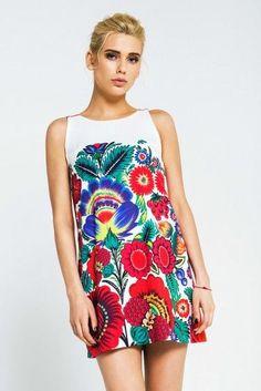 "Women's summer mini dress ""Petrykivka""."
