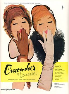 Crescendoe Caresse, 1960. #vintage #gloves #accessories #1960s