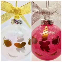 Unicorn christmas glitter bauble in pink or white in gift box, buy it now. Purple Christmas Ornaments, Christmas Glitter, Christmas Decorations For The Home, Christmas Items, Xmas Decorations, Christmas Home, Christmas Stockings, Holiday Decor, Unicorn Christmas