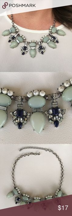 Mint and Navy Statement Necklace Really cute necklace with a navy dress or shirt, even goes well with chambray! Barely worn and originally from Dress Up. Dress Up Jewelry Necklaces