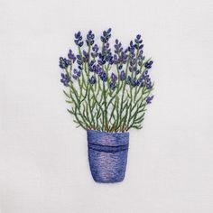 Lavender Pot<br>Hand Towel - White Cotton