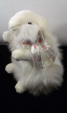 """LifeSize Unipak White Angora Bunny Rabbit Stuff Springtime Plush Animal 15"""" Toy #UnipakToys"""
