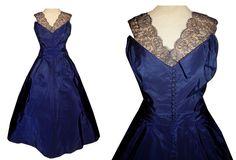 Vintage 50's Navy Blue Taffeta & CHANTILLY LACE Cocktail Dress // 1950's…