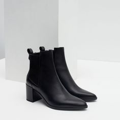 HIGH HEEL LEATHER ANKLE BOOTS WITH STRETCH DETAIL - Shoes and bags - Woman - NEW IN | ZARA Spain