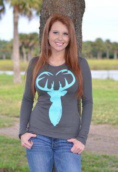 Sporty Girl Apparel - Thermal Longsleeve Gray with mint buck head heart, $33.95 (http://www.sportygirlapparel.com/thermal-longsleeve-gray-with-mint-buck-head-heart/)