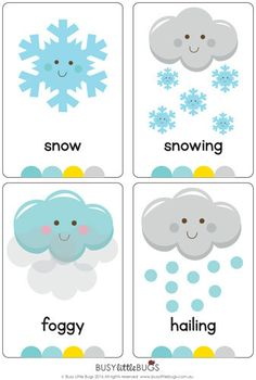 Resultado de imagen para the weather for kids flashcards Weather For Kids, Preschool Weather, Weather Activities, Learning Activities, Preschool Activities, Weather Book, English Primary School, English Classroom, Teaching English