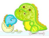 DINOSAUR Siblings BOY Applique 4x4 5x7 6x10 svg  Machine Embroidery Design  INSTANT Download