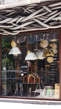 by designer is lighting up the window of Sheung Wan's Homeless retail store! Retail Space, Light Up, Commercial, Window, Spaces, Table Decorations, Store, Gold, Design
